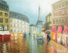 """I've never been to Paris, but I dream to go there. How pleasant to sit in the warm and cozy cafe in the rain and drinking hot flavored coffee. This picture I gave my good friend. I can make a copy of it for you and it will also keep you warm on a rainy day.  Title: Rainy Paris Size: 20"""" x 16"""" inches (50 cm x 40 cm)"""
