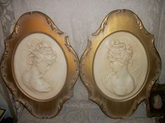 Vintage cameo lady bust wall plaques set gold by FabulousFinds1, $85.00