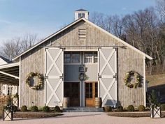 Beautiful barn house with sliding security doors.