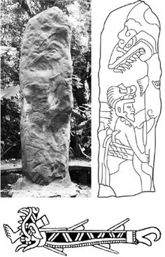 Top: Olmec Monument 63 in the archaeological site of La Venta, Mexico. (University of Alabama) and drawing detailing a person with a possible shark on the pillar. (Clark et al. 2010: fig. 1.7c) Bottom: Depiction of a shark with a human foot sticking out of its jaws in the Aztec Codex Fejérváry-Mayer, plate IX, No. 42. (José I. Castro)