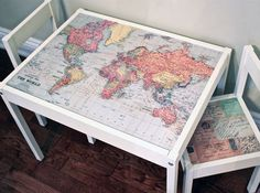 childrens table chairs maps decorations on top One IKEA LATT Table, Three Hacks Kids Table And Chairs, Table And Chair Sets, Play Table, Simple Furniture, Diy Furniture, Table Ikea, Map Crafts, Kid Spaces, Kids Playing