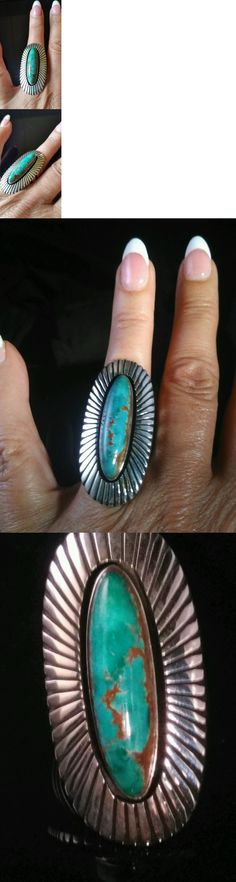 Rings 98500: Natural Broken Arrow Turquoise Ring Size 8.5 Navajo Signed Herman Vandever -> BUY IT NOW ONLY: $299.99 on eBay!
