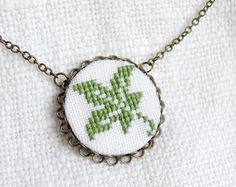 Hand embroidered necklace Leaf on white in bronze n051 by skrynka
