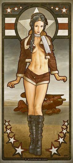 Art Nouveau Bomber Girl