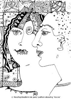 FACES, NeoPopRealism ink pen/ pattern drawing Gr 6-8, 9-12 | Art Lesson Plans: NeoPopRealism ink pen/ pattern drawing for all ages