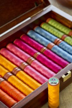 Beautiful sewing threads from DMC Creative World - don't they look lovely, all neatly lined up?