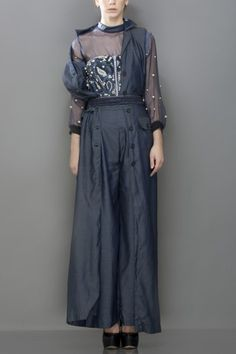 Whirl denim tencil high waisted flared pants with long jacket set teamed with an embroidered corset and sheer organza shirt
