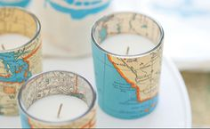 DIY Vintage Map Votive Candles >>> these are so cute!