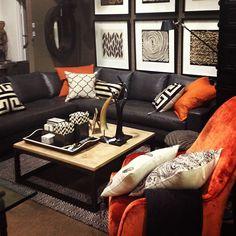 Masculine room setting with bold orange colour blocking at Boyd Blue Gold Coast Showroom