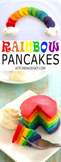 "How to make rainbow pancakes for St. Patrick's Day breakfast! Colored pancakes with fluffy ""clouds"" of whipped cream are lucky indeed!"