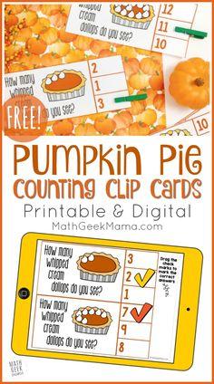 Pumpkin Pie Counting Cards   Printable + DIGITAL   Math Geek Mama Free Printable Math Worksheets, Kindergarten Math Worksheets, Printable Cards, Free Printables, Fun Math Activities, Educational Activities For Kids, Math Resources, Homeschool Math, Homeschooling