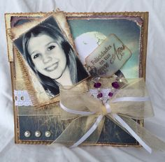 Beautiful Rustic picture card for Birthday. Handmade. Made by Craft Me a Card.