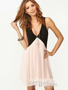 Adorable Color Block Sleeveless Deep V-neck Dress : Tbdress.com