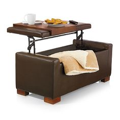 Davis Lift Top Storage Ottoman In Chocolate