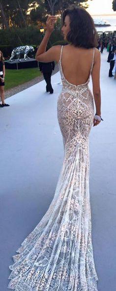 Open back lace wedding dress | Deer Pearl Flowers