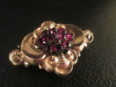 Antique-Victorian-14K-Hollow-Gold-Repousse-Bohemian-Garnet-Seed-Pearl-Brooch