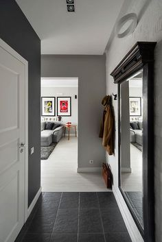 Home Interior Design Reasonable (large) size mirror to give more light in a dark hallway