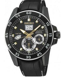 Montre Seiko Sportura Kinetic SNP089P1 homme avec bracelet cuir noir, cadran noir et fonction calendrier perpétuel.