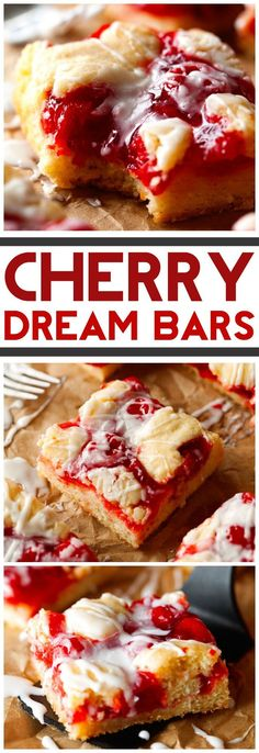 Cherry Dream Bars… These are absolutely AMAZING! Plus, it only requires about … Cherry Dream Bars… These are absolutely AMAZING! Plus, it only requires about 10 minutes of prep time with ingredients you probably already have on hand! Cake Bars, Dessert Bars, Oreo Dessert, Breakfast Dessert, Cherry Desserts, Cherry Recipes, Köstliche Desserts, Delicious Desserts, Yummy Food