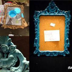Cornice restyle blue elettrico con panello di sughero porta appunti. Blue frame.