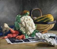 """View """"Still Life with Cauliflower and Vegetables from the Artist's Garden"""" By Nora Heysen; Access more artwork lots and estimated & realized auction prices on MutualArt. Fine Art Auctions, Still Life Art, Australian Artists, Art Market, Spring Flowers, Painting & Drawing, Cauliflower, Oil On Canvas, Art Gallery"""