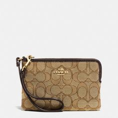 Coach Corner Zip Wristlet ($49) ❤ liked on Polyvore featuring bags, handbags, clutches, beige, strap purse, beige purse, wristlet purse, zip purse and coach wristlet