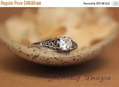 ON SALE Dainty White Sapphire Filigree Engagement Ring in Sterling Silver - Vintage Style White Sapphire Wedding Ring -  Filigree Solitaire