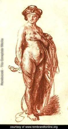 "baroque-art-appreciation: ""Female Nude with Snake (Cleopatra), Rembrandt Van Rijn "" Figure Drawing, Painting & Drawing, Rembrandt Art, Baroque Art, Art Database, Classical Art, Reproduction, Western Art, Lovers Art"