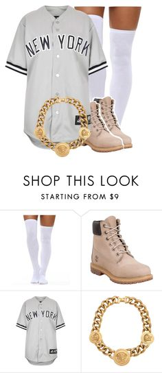 """""""Sem título #1668"""" by isabellacarolina161 ❤ liked on Polyvore featuring Timberland, Topshop and Versace"""