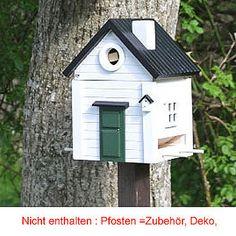 2in1 Vogelhaus Nistkasten Weißes Haus WG114 Futterhaus -ohnePfosten