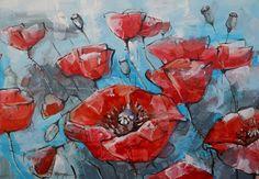 Poppies - Pittura ©2014 da Natalia-Khromykh -                                                            Arte astratta, Tela, Arte astratta, papaveri, papavero, rosso
