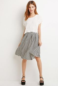 Railroad Stripe A-Line Skirt | Forever 21 - 2000173947 - I think this looks comfy for summer