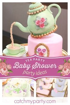 Baby Shower Vintage Tea Party Wedding Cakes 37 New Ideas Baby Shower Cupcakes For Girls, Baby Shower Vintage, Tea Party Baby Shower, Baby Shower Cakes, Tea Party Theme, Tea Party Wedding, Wedding Cupcakes, Vintage Birthday Parties, Vintage Party