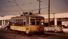 """The Birney Safety car and the LA Railway had a few of these single truck cars which they used primarily on the Indiana Street Shuttle run. This is car no.1030 probably running on the Indiana shuttle line. Note the """"bars"""" across the windows to keep you or little kids from falling out of the trolley. (By Michael Phillips)."""