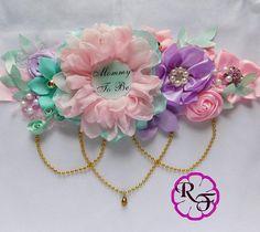 Maternity sash belt , belly sash for baby girl, Baby shower sash , Its a girl maternity sash , Floral baby shower belt pink mint lavender