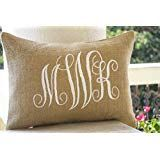 Burlap Monogram Pillows -Custom Lumbar Monogram Pillow- Cursive Three Letters Monogram Pillows- Initial Cushion- Gift- Wedding by AmoreBeaute on Etsy Burlap Monogram, Monogram Pillows, Burlap Pillows, Custom Pillows, Decorative Throw Pillows, Letter Monogram, Letters, Monogram Initials, Rustic Wedding Gifts