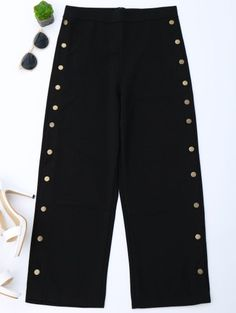 SHARE & Get it FREE | High Waisted Buttons Side Gaucho Pants - Black MFor Fashion Lovers only:80,000+ Items • New Arrivals Daily Join Zaful: Get YOUR $50 NOW!