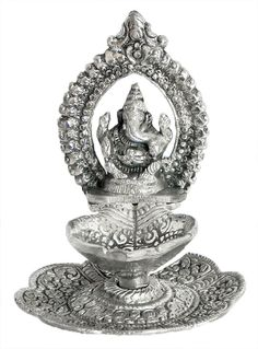 Ghee or Oil Lamp with Ganesha (White metal)