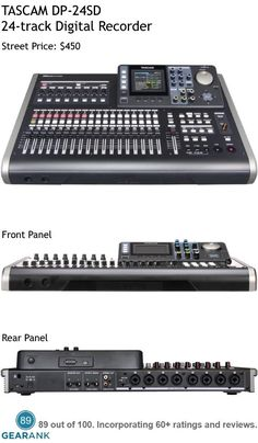 TASCAM DP-24SD 24-track Portastudio Digital Recorder.  This is one of the highest rated digital recorders on the market. For a detailed guide to Multitrack Recorders see https://www.gearank.com/guides/best-multitrack-recorder