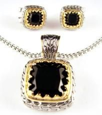 Designer Two Tone Black CZ  Fashion Necklace and Earrings Set $16.95