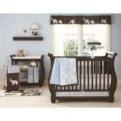 Carter's® Blue Elephant 4-Piece Crib Bedding Set - BedBathandBeyond.com