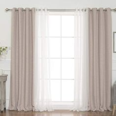 Darby Home Co Almanzar Slub Solid Blackout Thermal Grommet Curtain Panels - カーテン ファブリック - Living Room Decor Curtains, Home Curtains, Grommet Curtains, Panel Curtains, Bedroom Decor, Curtain Panels, Double Curtains, Modern Curtains, Curtain Ideas For Living Room