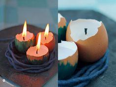 Ostern DIY Kerzen in Eierschalen Osterdeko selbermachen