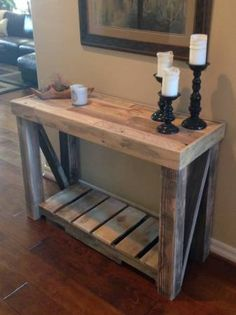 recycled wood entry table add shelves at the bottom for shoes Decor, Furniture, Woodworking Projects Diy, Rustic Furniture, Home Decor, Diy Pallet Furniture, Diy Furniture Projects, Wood Entry Table, Wood Furniture Diy