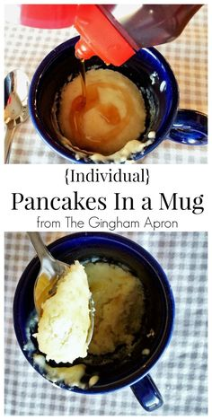 Pancakes in a Mug- if you've got 3 minutes and 3 ingredients, you can have this mess-free breakfast treat! Have these yummy pancakes to your table in 3 minutes! Breakfast In A Mug, Breakfast Recipes, Brunch Recipes, Breakfast Platter, Breakfast Fruit, Sausage Breakfast, Paleo Breakfast, Dessert Recipes, Cooking For One