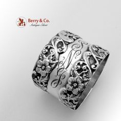 Art Nouveau Floral Scroll Napkin Ring Sterling Silver 1900
