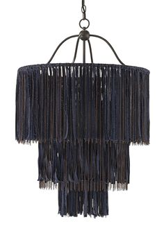 Unparalleled in craftsmanship and style, our bestselling Boho Chandelier is sure to dazzle! This striking fixture, inspired by DIY fashion trends, is painstakingly constructed by hanging loose strips