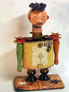 Mixed Media Assemblage Art Doll Cavalier Colonel