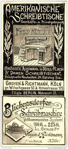 Original-Werbung/ Anzeige 1898 - AMERIKANISCHE SCHREIBTISCHE / BLICKENSDERFER SCHREIBMASCHINE - ca. 45 x 100 mm