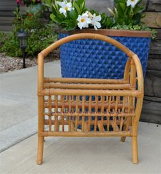 Vintage Magazine Rack Bent Wood, Rattan, Wicker Bohemian Style French Country Cottage, Cottage Chic, Rattan, Wicker, Bent Wood, Hanging Mobile, Vintage Closet, Outdoor Chairs, Outdoor Decor